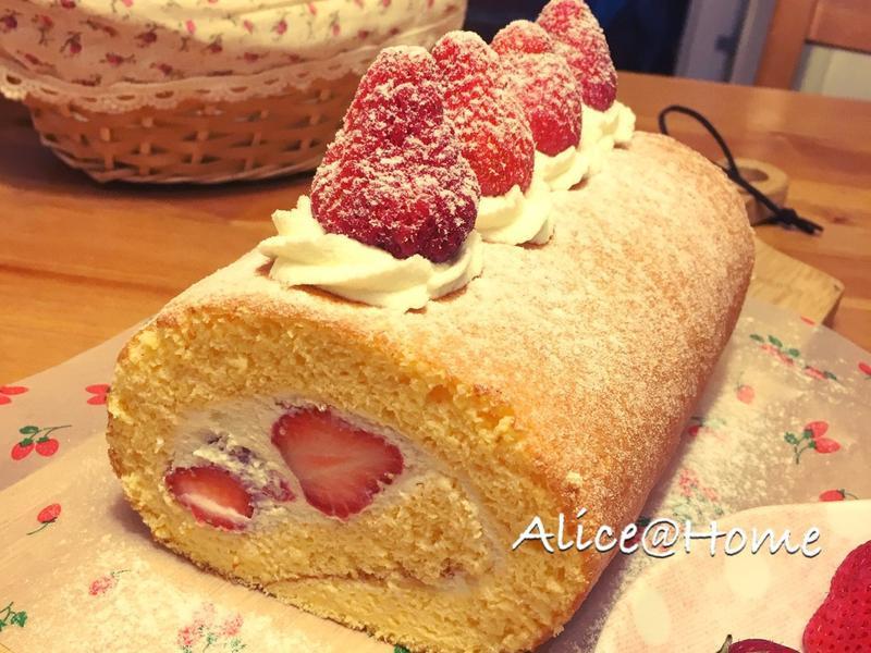 日式草莓生乳捲(分蛋海綿做法)