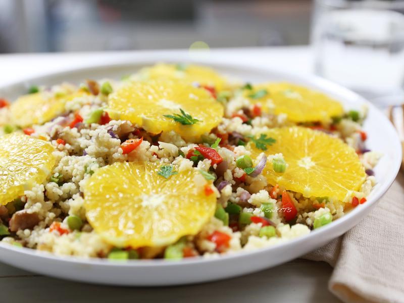 柳橙蔬菜庫絲庫絲沙拉
