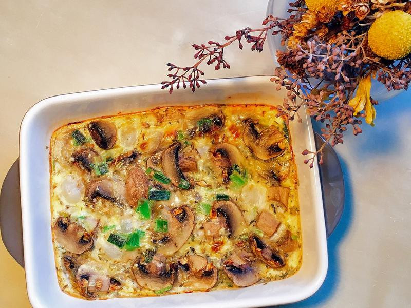 好吃早餐~義式蘑菇洋蔥起司烘蛋