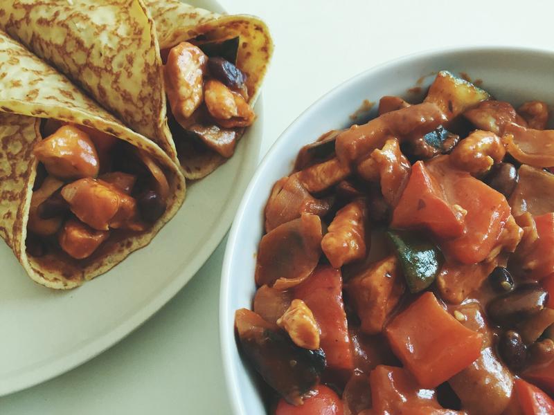 自製。簡易墨西哥風味雞肉餡料
