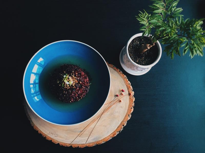 禪意十足紫米茶泡飯