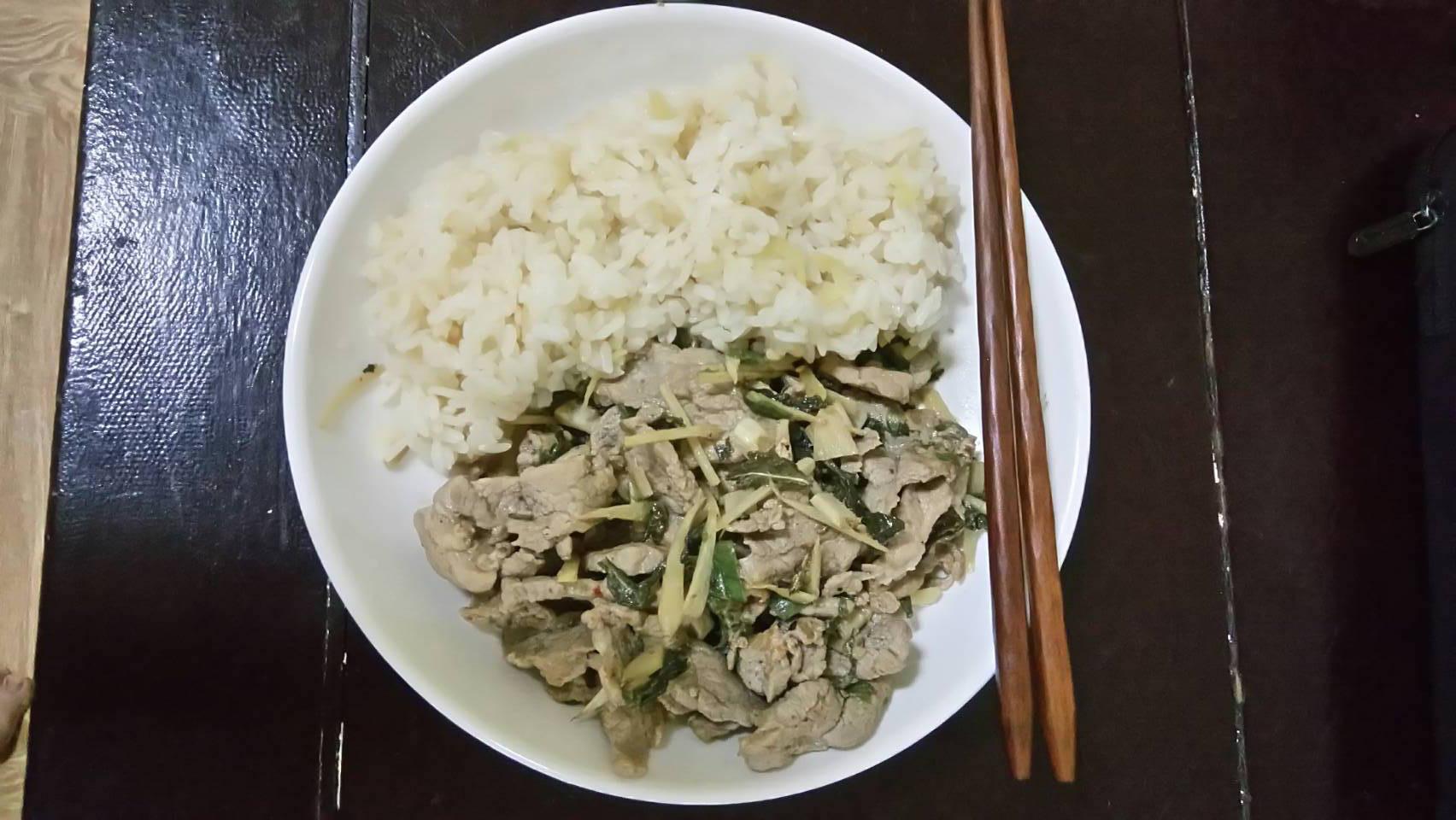 薑絲茶葉燒肉飯-佐七味粉