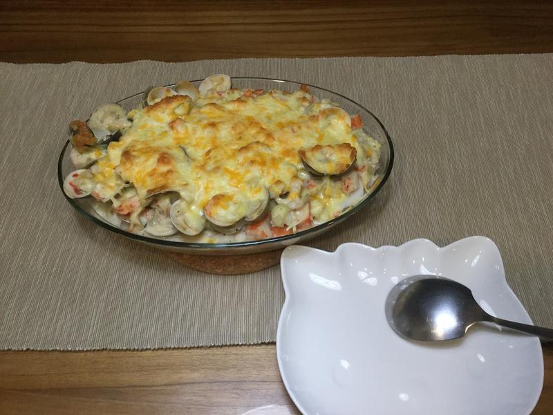 羊小窩廚房-白醬海鮮焗飯