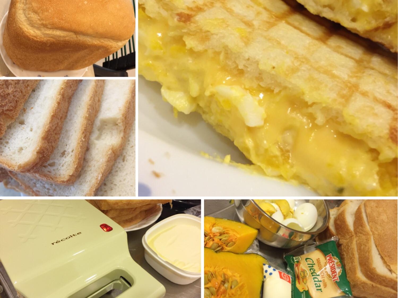 。南瓜起士蛋三明治。格子三明治機