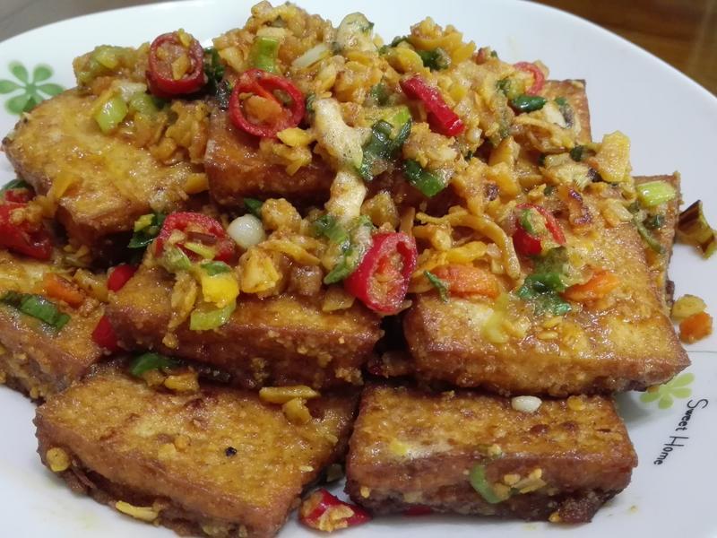 金沙豆腐(免油炸)