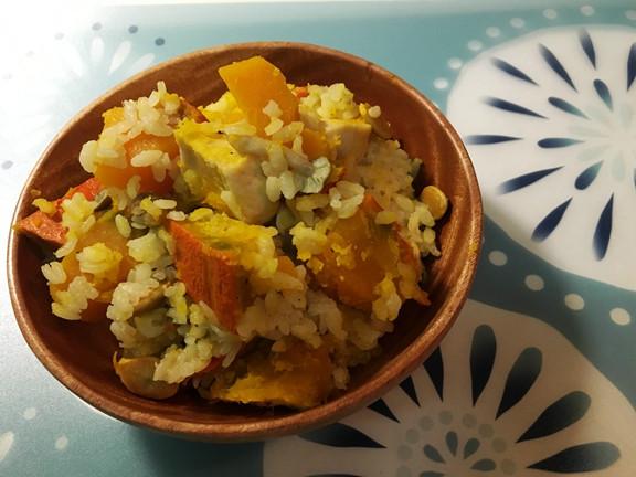 南瓜菇菇雞肉炊飯