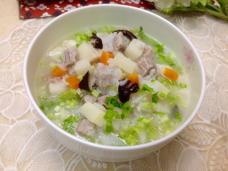 松板豬香菇竹筍粥