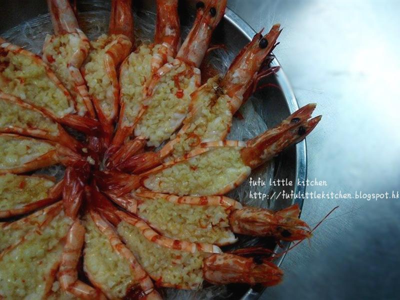簡易宴客海鮮 - 蒜蓉蒸開邊蝦