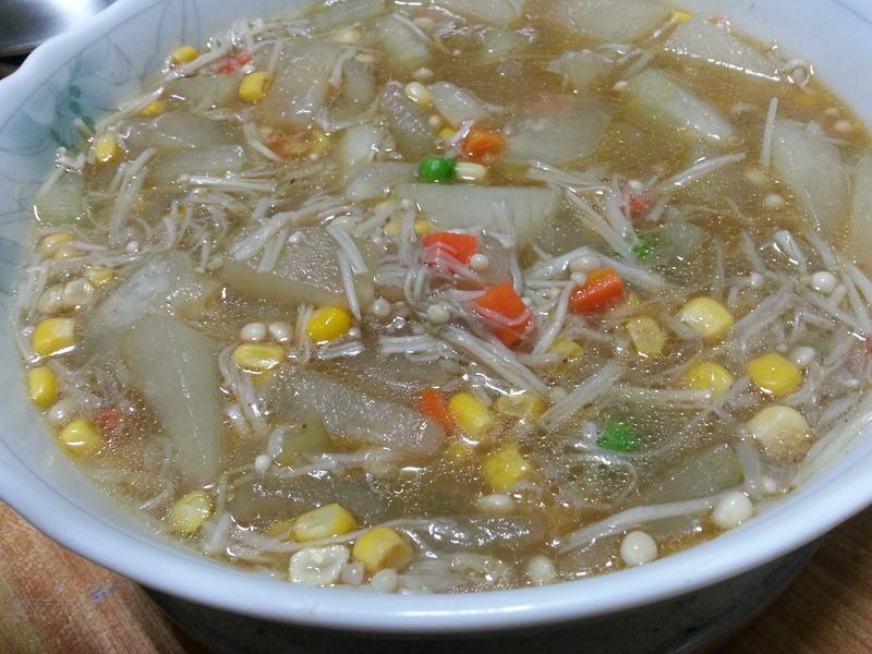 冬瓜玉米金針菇湯~~^-^(素食)