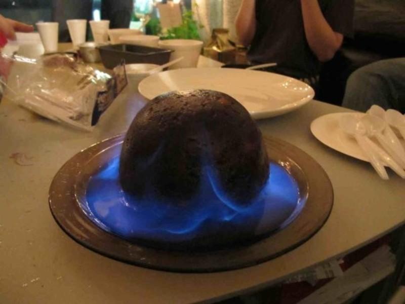 安全的燒聖誕布丁