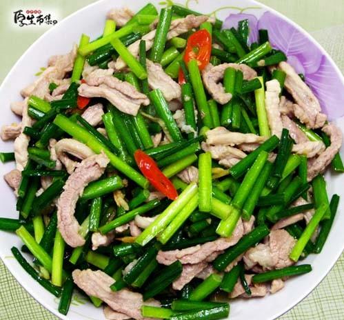 【厚生廚房】韭菜花炒肉絲