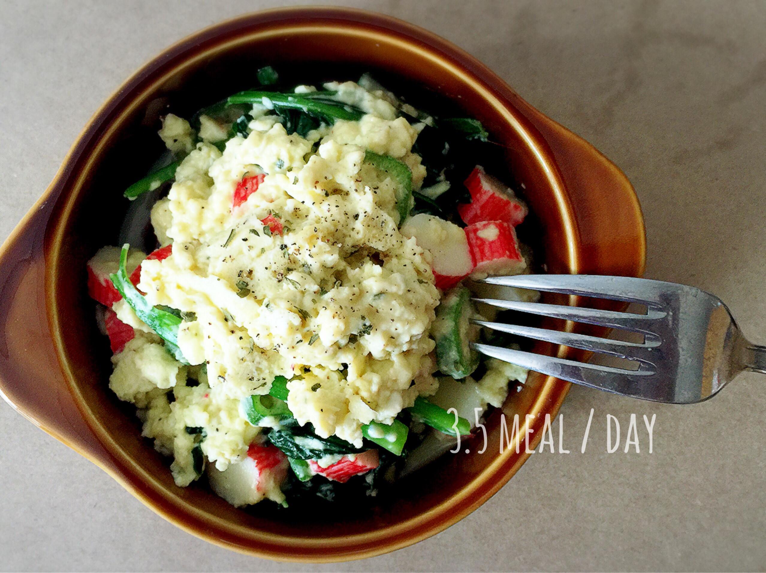 健康波菜蟹柳炒蛋。早餐