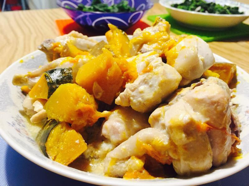 南瓜豆漿燉雞