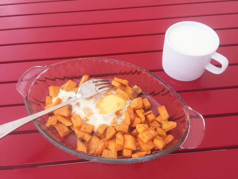 健康烤地瓜雞蛋早餐