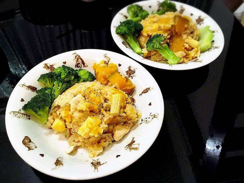 南瓜奶油雞肉燉飯(電子鍋)