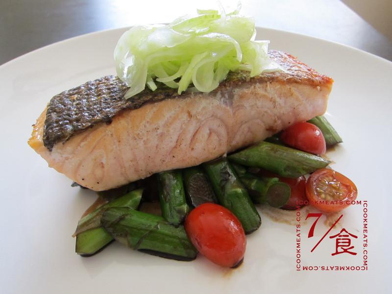【7/食】30分鐘情人節晚餐 – 煎鮭魚與蔬菜