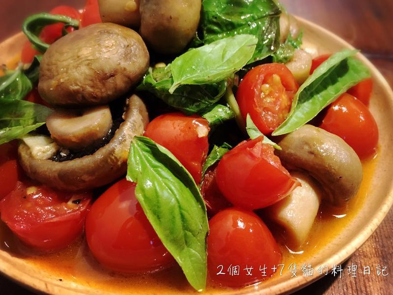 蕃茄蘿勒洋菇溫沙拉