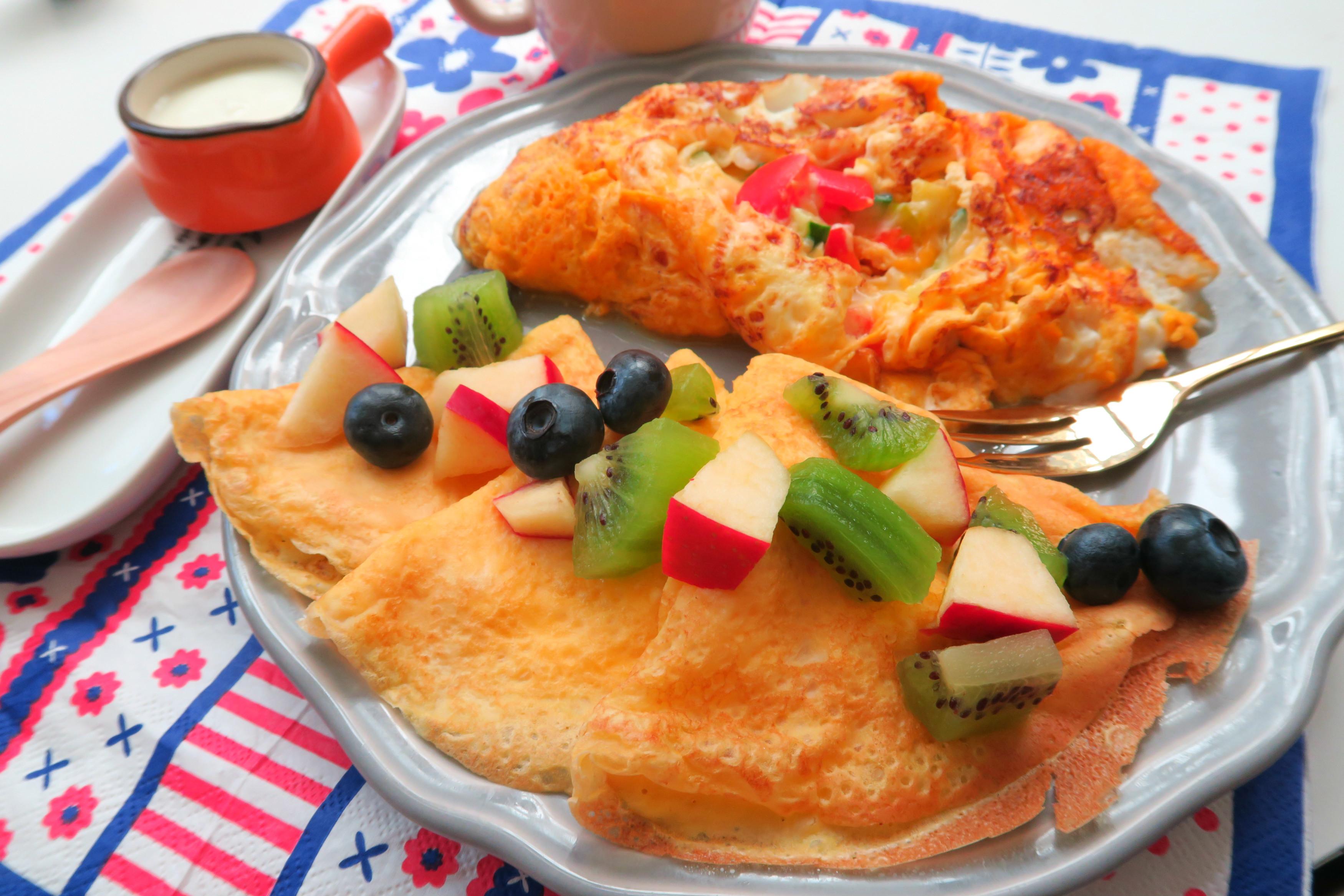 法式水果薄餅+鮮蔬歐姆蛋