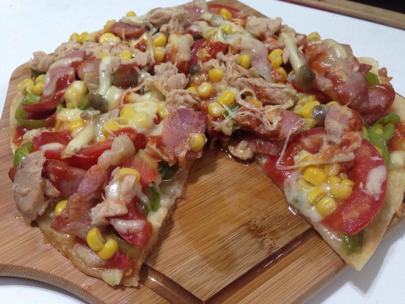 海陸鮮蔬脆皮披薩(平底鍋版)