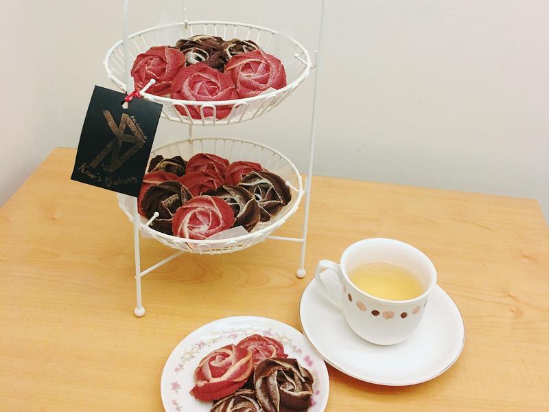 雙色玫瑰餅乾(紅麴.可可)