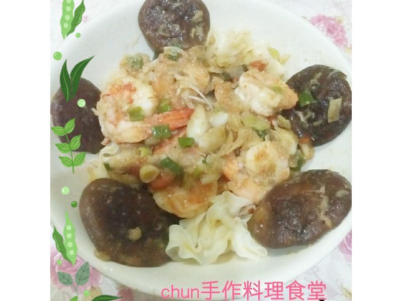 百合蝦仁乾拌麵-五木拉麵