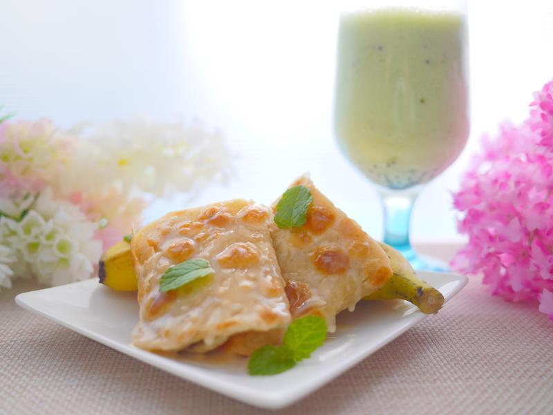 泰味香蕉起司煎餅+奇異果牛奶