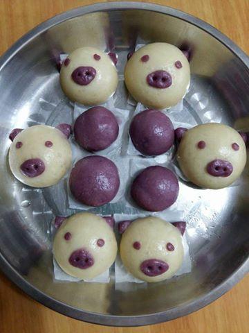 寶寶副食-小豬紫蕃薯饅頭