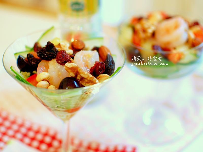 蜂蜜凱薩鮮蝦水果杯【健康廚房】