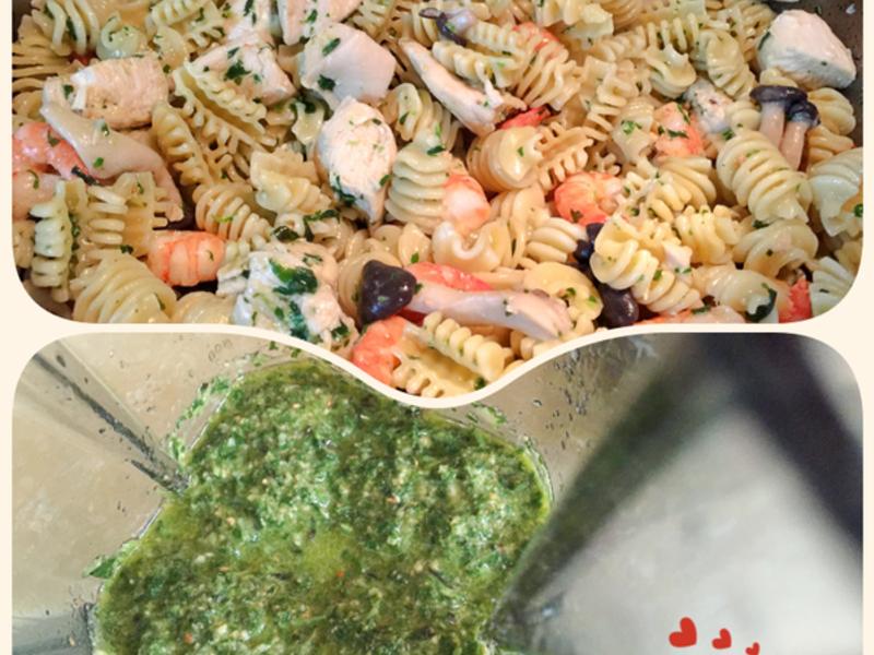 零廚藝簡易青醬作法+青醬鮮蝦雞肉義大利麵