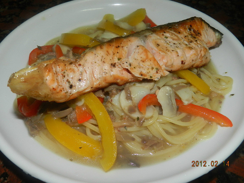 ㄚ曼達的廚房~情人節套餐之二....鮭魚白醬義大利麵
