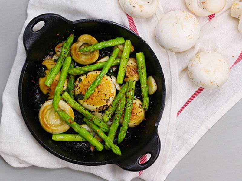 【蘆筍蒜片香煎洋菇】健康防癌從吃做起