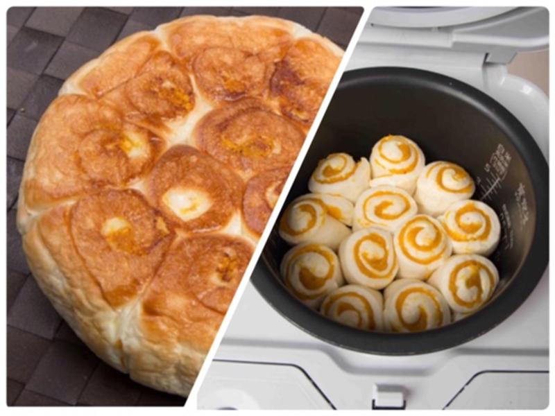 【麥典】電子鍋麵包三部曲-南瓜玫瑰捲