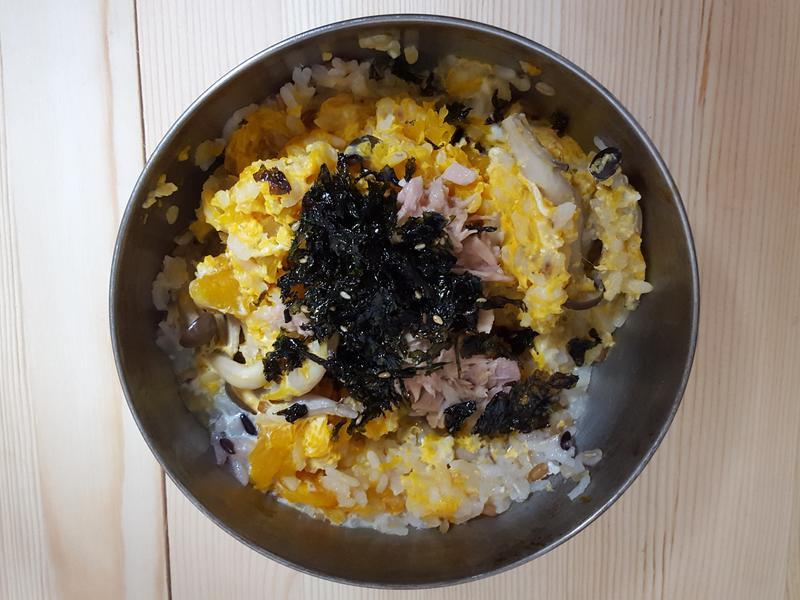 電鍋快速料理🍴南瓜菇菇鮪魚拌飯