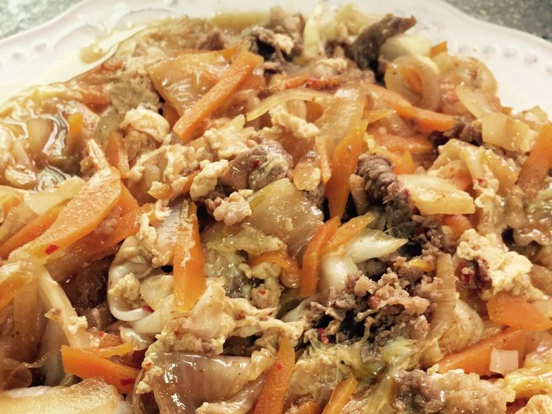 *韓式泡菜牛丼飯*加蘋果醋更美味