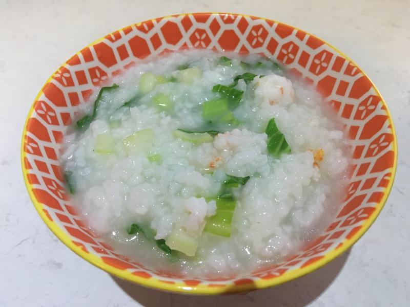 寶寶食譜-青菜蝦肉豬肉粥