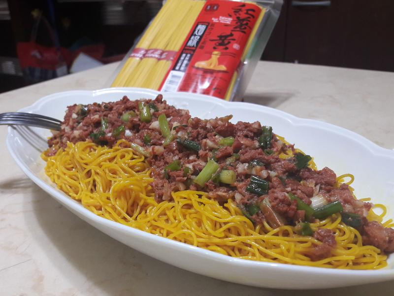 乾拌肉醬紅薑黃麵線~~方便煮