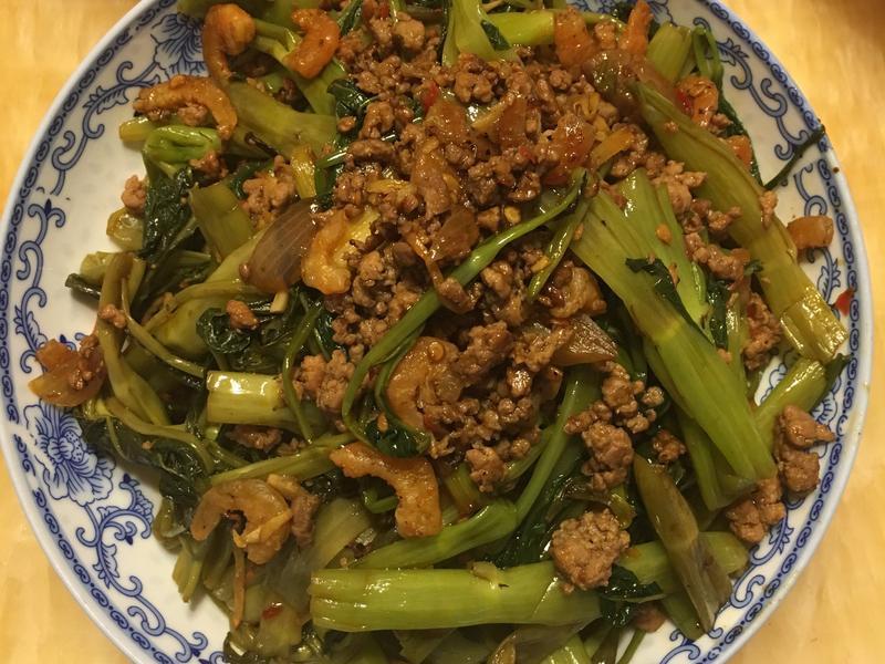 蝦米肉碎豆瓣醬炒通菜