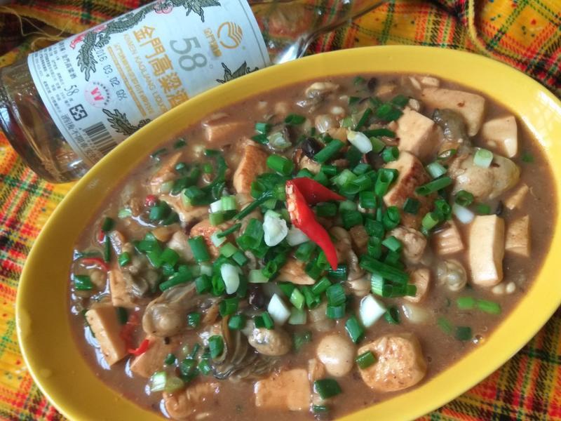 熱炒排行美食─豆腐鮮蚵─58度金門高粱酒