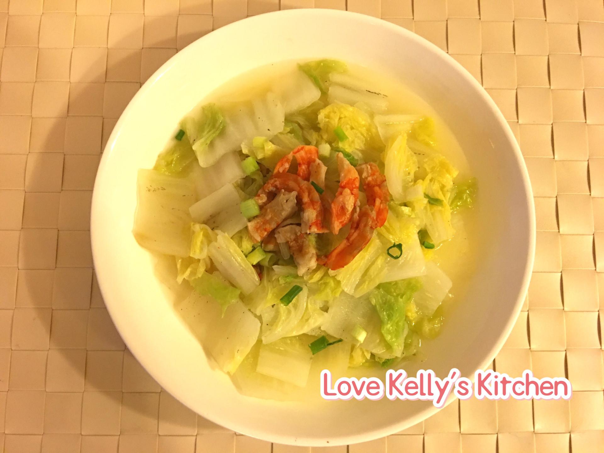 上湯虎蝦干煮旺菜