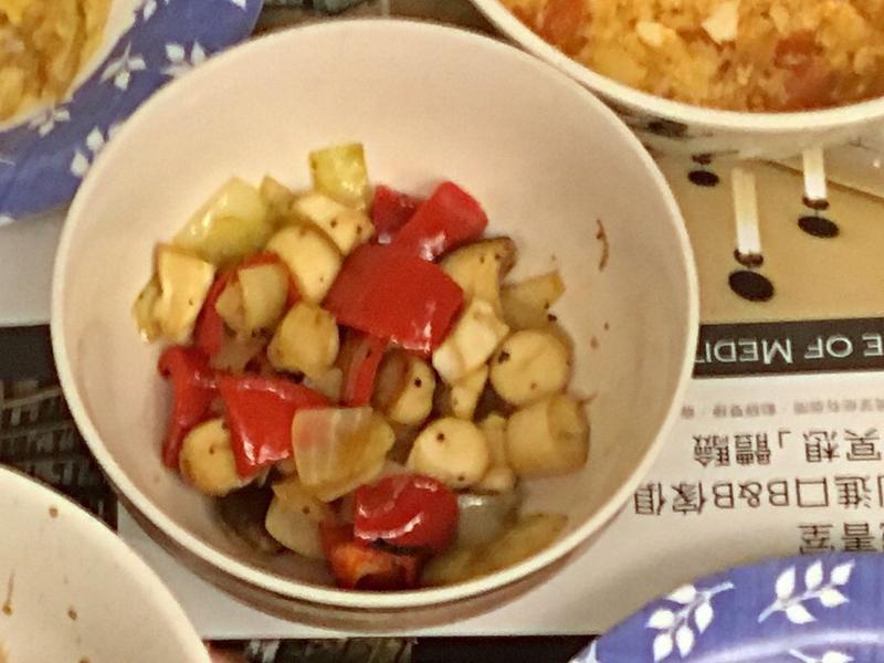 甜椒(or)青椒撞杏鮑菇