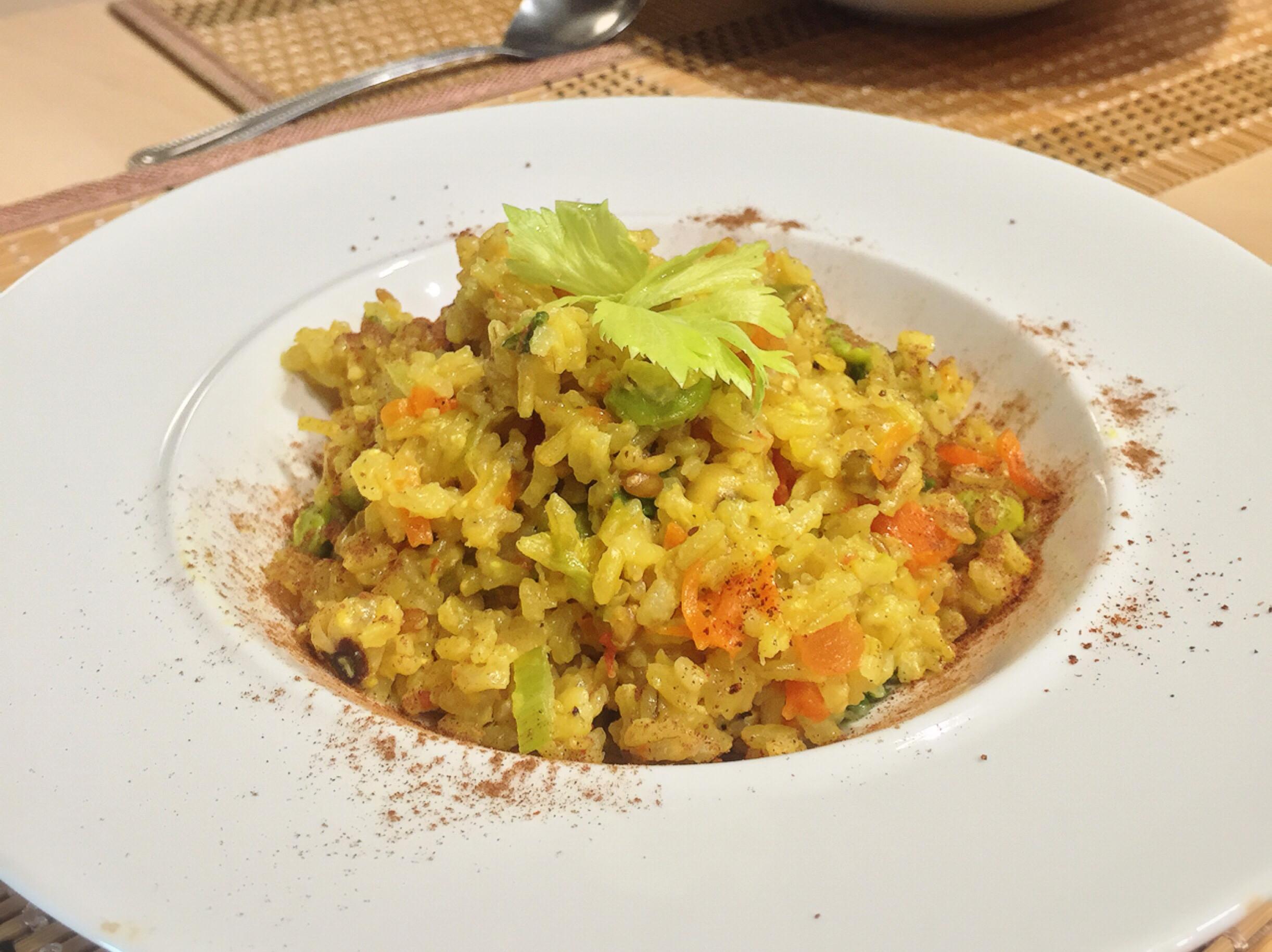 蔬食)簡易電鍋咖喱田園起司燉飯🍳蛋奶素