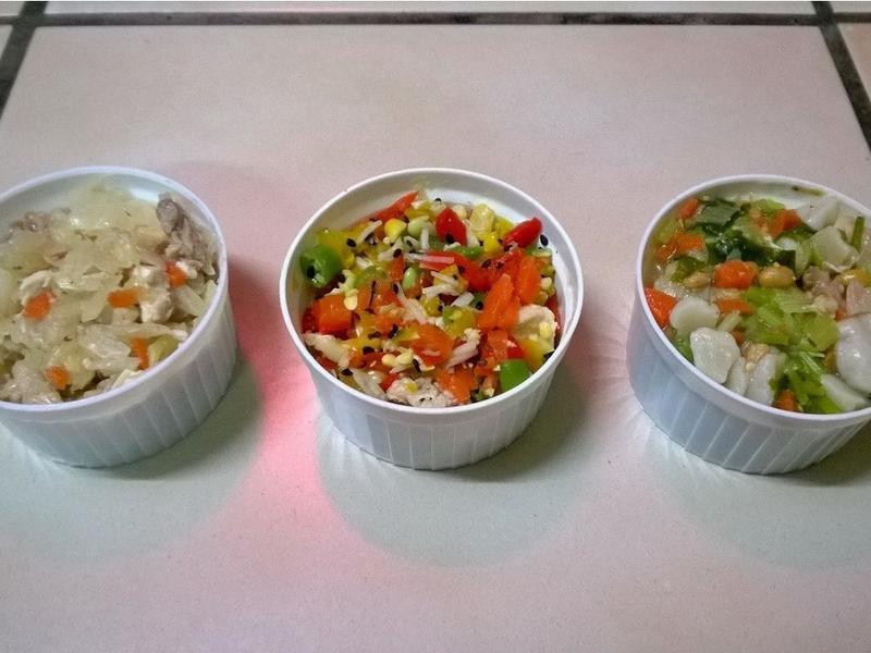 鮮食🐾高麗菜蒸腿 果醋沙拉 納豆麵疙瘩