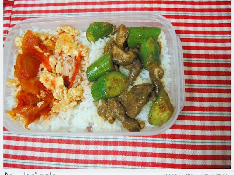 雙菜便當・番茄炒蛋+沙茶佐小黃瓜炒香菇