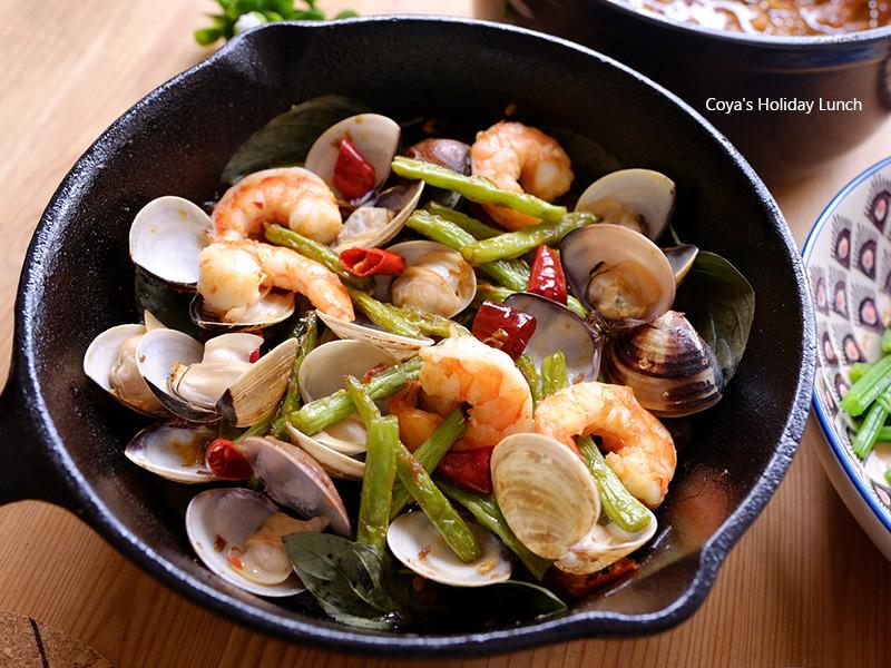 鐵板香辣海鮮-平底鑄鐵鍋料理
