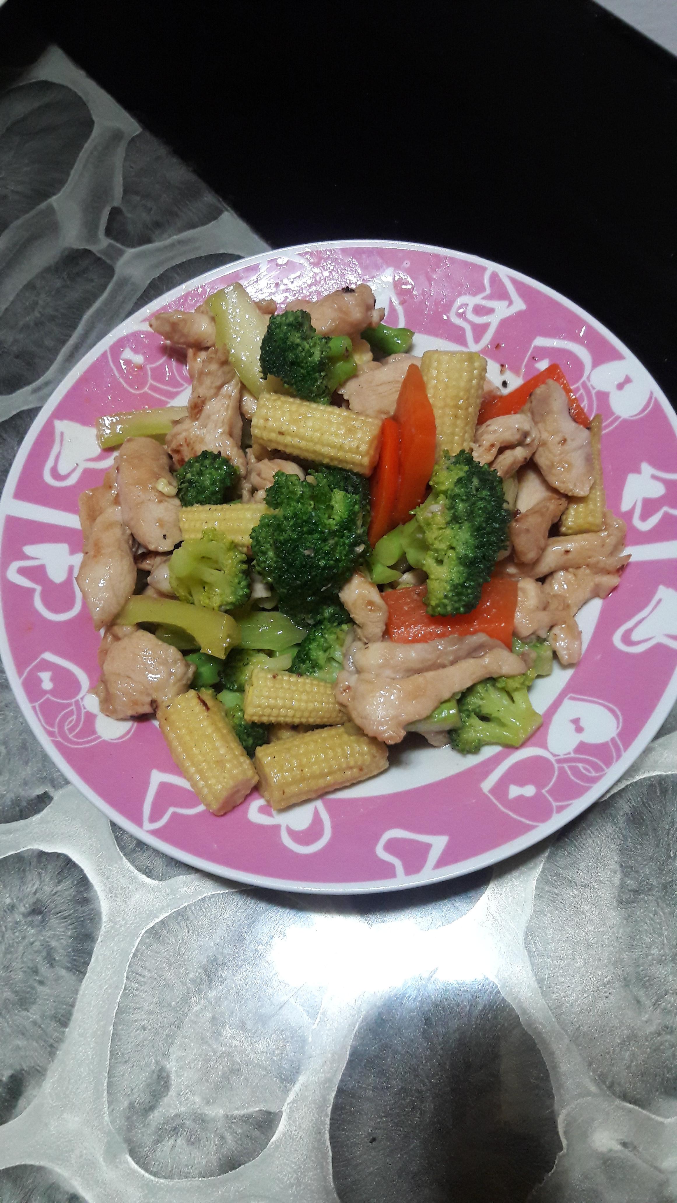 雞柳炒鮮蔬