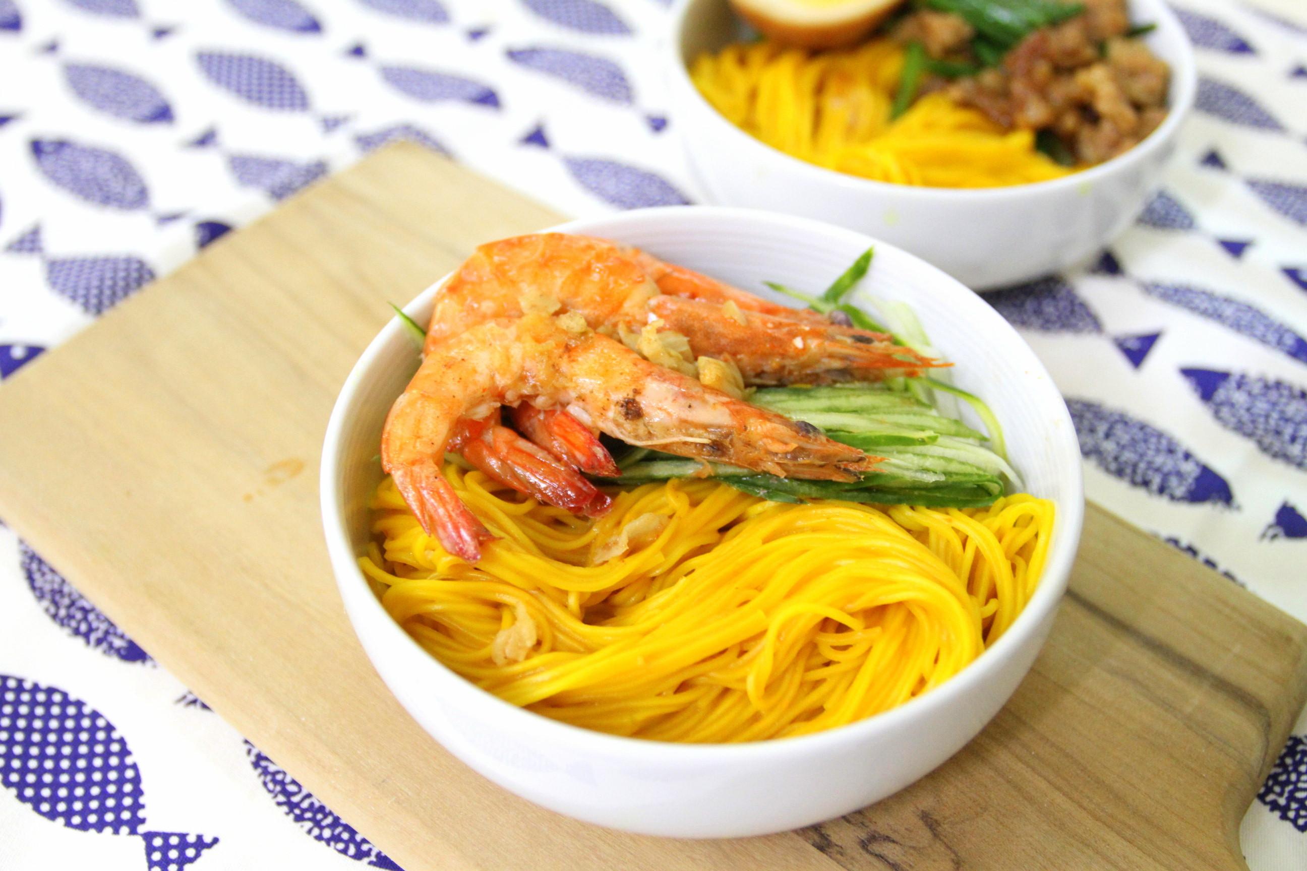 紅薑黃小廚房!蒜蓉鮮蝦拌紅薑黃麵線
