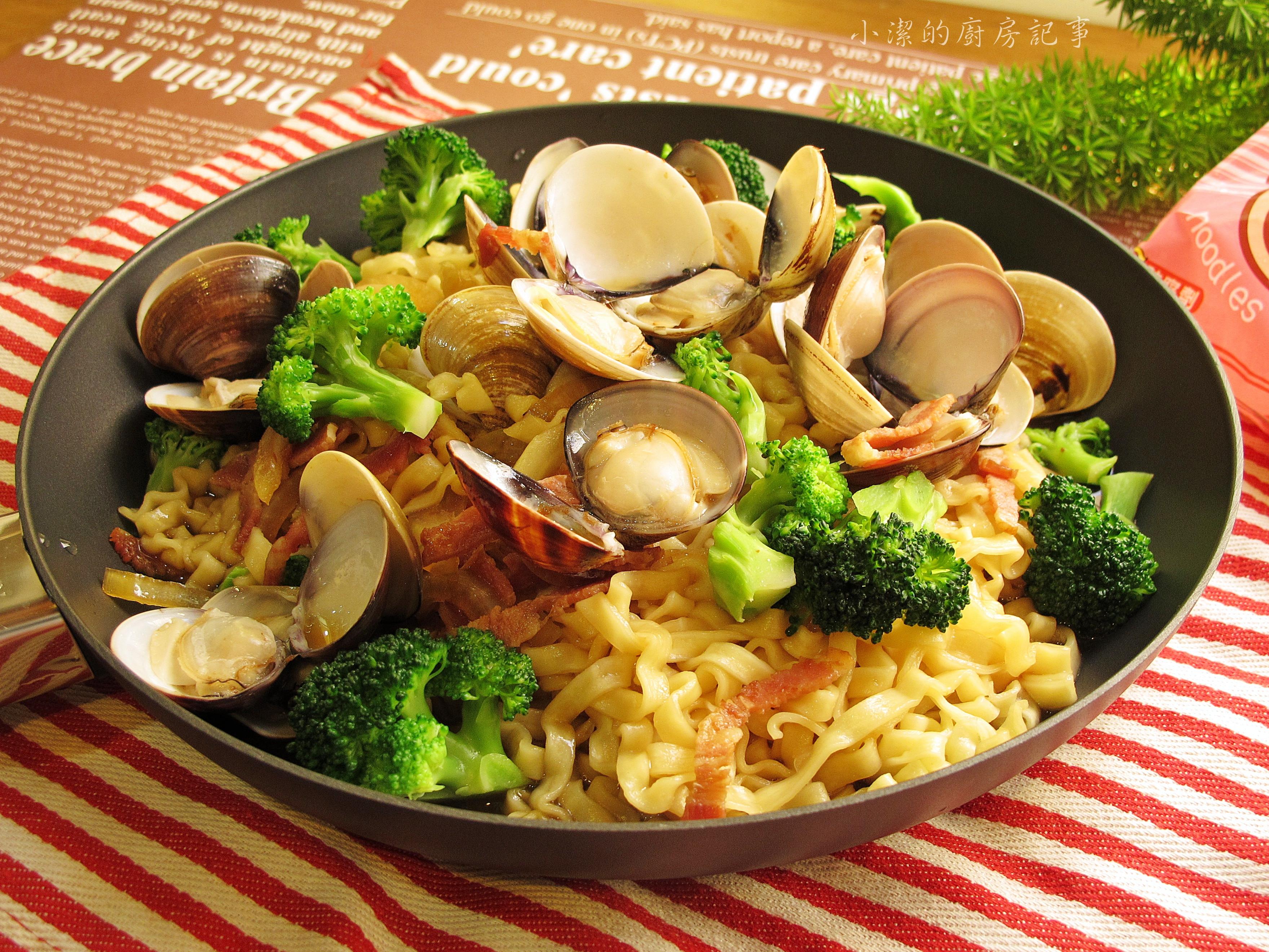 蛤蜊培根香拌麵