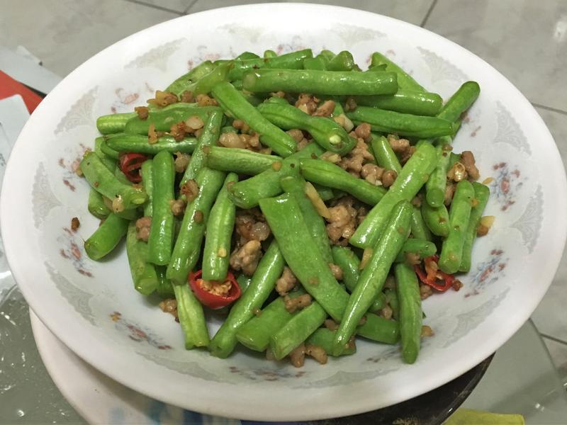 蒜炒肉末四季豆