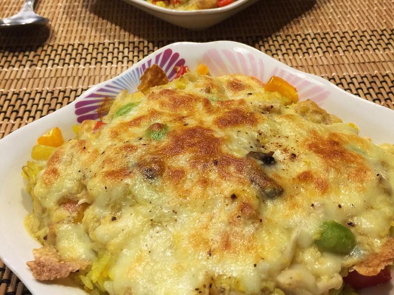玉米濃湯與剩飯變成白醬焗烤飯~蛋奶素🍳
