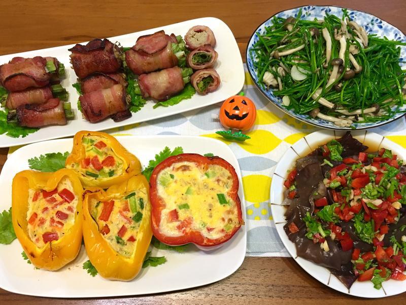 甜椒焗蛋、烤培根串 (水波爐_一爐多菜)